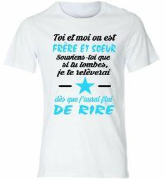 t shirt personnalisé enfant Kdoboulevard frere et soeur inscription en bleu et…