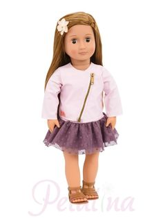 Our Generation 18 Inch Regular Doll VIENNA with Long Brown Hair, Brown Eyes, Pink Zipper Jacket, Purple Ruffled Skirt and Sandals. Long Brown Hair, Light Brown Hair, Deep Brown, Party Accessories, Doll Accessories, Girl Doll Clothes, Girl Dolls, Poupées Our Generation, Divas