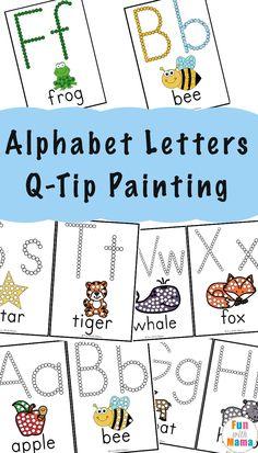 Alphabet Printables Q-Tip Painting via @funwithmama