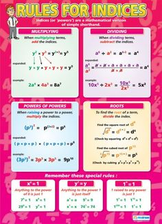 Rules for Indices Poster Gcse Maths Revision, Maths Algebra, Math For Kids, Fun Math, Math Art, Math College, Maths Solutions, Math Notes, Math Formulas