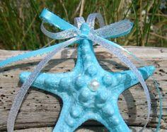 Starfish Ornament-AQUA BLUE SPARKLE-Beach Wedding Favors, Coastal Chic, Beach Party, Starfish Favors, Mermaid Party, Ocean