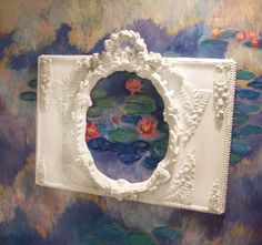 Antique French mirror created by me ,ciel de lit. so French this one, now sold, set on a backdrop of my Monet painting, hope you like my work.