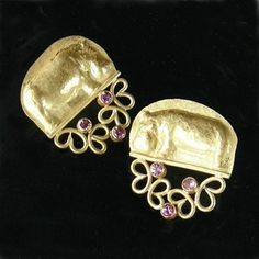 "Linda Kindler Priest: Hippo Flower Earrings, 14K gold, with pink sapphires, 96pt. Approx. 1"" wide, 1.1"" tall."