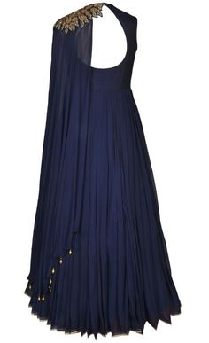 Navy Contemporary Floor Length