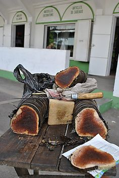 Koba - a sweet steamed snack made from peanuts, banana, honey and cassava flour. It is commonly sold on the streets by the slice.