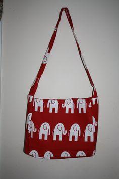 Cute Red Elephant Messenger Bag/Diaper Bag #handmade #bag #purse #sewing