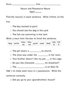 Unit 2 Grammar - Possessive Nouns Worksheet | Lesson Planet ...