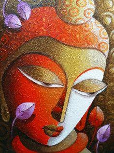 Bouddha 2 par l'artiste Dhananjay Mukherjee | Peintures acryliques