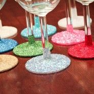 How to make glittered glassware hand washable. Clean glass w/alcohol. Put plastic bag over top of glass & tape w/blue tape on stem in a straight line. Apply Mod Podge & glitter. Let dry. Apply 1-2 coats of Rust-Olean Lacquer glossy coating. Carefully remove tape when dry.  #color #DIY