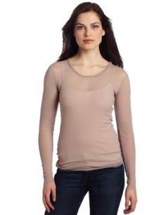 Only Hearts Women's Tulle 1 Ply Long Sleeve Crew Neck