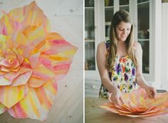 DIY: Giant Standing Paper Flower Party Decor Tutorial via Green Wedding Shoes