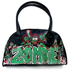 Zombies walk the night hand painted bowler bag