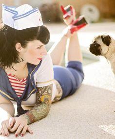 tattoo, sailor suit, pug, perfect