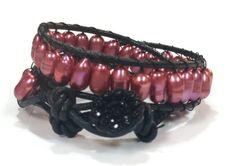 Jazzy rice pearl leather double wrap bracelet