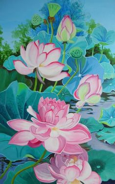 Buy Multipetalled Pink lotus painting online - the original artwork by artist Vishwajyoti Mohrhoff, exclusively available at Mojarto only. Lotus Artwork, Lotus Painting, Lily Painting, Art Painting Gallery, Lotus Drawing, Watercolor Flowers, Watercolor Art, Paint Flowers, Art Floral