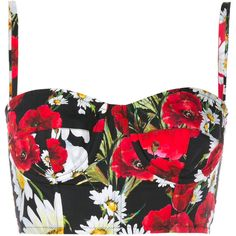 Dolce & Gabbana Floral Bralet ($429) ❤ liked on Polyvore featuring tops, crop tops, shirts, blusas, bralet, rose, red bustier top, floral shirt, floral crop top and bralette crop top