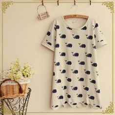Short-Sleeve Whale Print T-Shirt from #YesStyle <3 Fairyland YesStyle.com