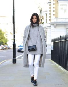 Oversized gray sweater, wool coat and white denim // The Northern Light