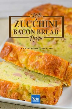 Keto Zucchini Bread with Cheddar and Bacon. This delicious and easy bread recipe is soft and loaded with yummy flavors. It's gluten free, low carb and grain free. Perfect for toasting or just eating a slice fresh from the oven. Bacon Bread Recipe, Easy Keto Bread Recipe, Best Keto Bread, Bread Recipes, Easy Bread, Tortilla Recipe, Cookbook Recipes, Sweets Recipes, Healthy Desayunos