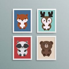 Woodland animal print set: fox, deer, raccoon, bear