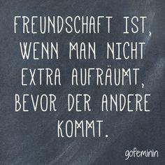 Freundschaft ist, wenn man nicht extra aufräumt, bevor der andere kommt.