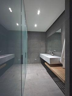Pool bathroom with bench - Jolson. Slat timber bench. Locker room chic.