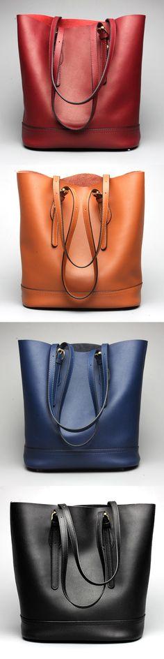 US$68.54  Ekphero Women Genuine Leather Handbag High End Tote Bag Bucket Bag