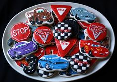 Icings by Ang: Children's Birthday Cookies Car Cookies, Cookies For Kids, Cupcake Cookies, Cupcakes, 3 Year Old Birthday Party, Cars Birthday Parties, 2nd Birthday, Iced Sugar Cookies, Cookie Company