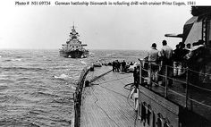 KRIEGSMARINE Bismarck and Prinz Eugen conducting refueling exercises, Apr-May 1941 Source United States Navy Naval History and Heritage Command Identification Code NH 69734 Bismarck Ship, Sink The Bismarck, Naval History, Military History, Ride Captain Ride, Bismarck Battleship, Navy Coast Guard, Prinz Eugen, Heavy Cruiser