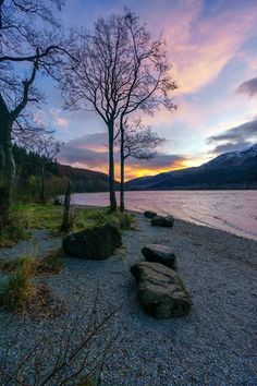 Loch Lubnaig from the shore during sunset, Scotland