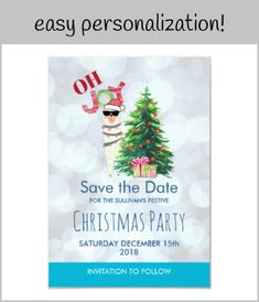 Shop Cool Llama on Silver Bokeh & Icy Blu Save The Date Invitation created by Mirribug. Personalize it with photos & text or purchase as is! Save The Date Invitations, Save The Date Cards, Zazzle Invitations, Llama Christmas, Christmas Fun, Christmas Cards, Holiday Tree, Holiday Cards, Holiday Fonts