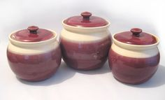 Canisters Set of 3 Stoneware Handmade Pottery Lidded Pots, Crocks Burgandy Red & Ivory Kitchen Food Storage and Decor