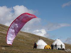 Paragliding in Altai mountain , Mongolia