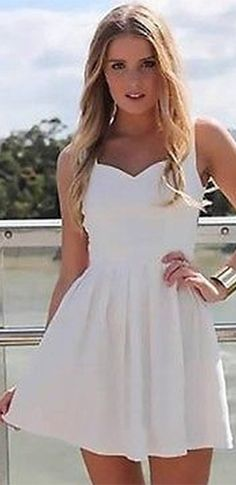 White Sleeveless Sweetheart Neck Cut Out Back Straps Pleated Skater Circle A Line Flare Mini Dress
