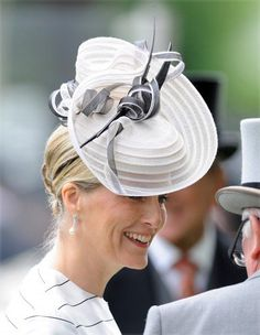 The Countess of Wessex in her Jane Taylor hat. #crin #royalhat #judithm A sweet and light chapeau style.
