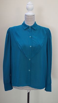 VINTAGE-TEAL-BLOUSE-WITH-FRILL Teal Blouse, Vintage Tops, No Frills, Shirt Dress, Mens Tops, Shirts, Dresses, Fashion, Gowns