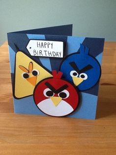 Angry Birds Card made with Cricut cartridge George and Basic Shapes Scrapbooking, Scrapbook Paper Crafts, Scrapbook Cards, Boy Cards, Kids Cards, Cute Cards, Bird Birthday Parties, Birthday Cards For Boys, Cricut Cards