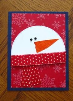 Cute Snowman In Red Scarf Card.by deb loves stamping.Cards & Paper Crafts at Splitcoaststampers. Scarf dw Snowman in Red Scarf by deb_loves_stamping - Cards and Paper Crafts at Splitcoaststampers Homemade Christmas Cards, Christmas Cards To Make, Homemade Cards, Christmas Snowman, Fabric Postcards, Snowman Cards, Ideias Diy, Winter Cards, Card Tags