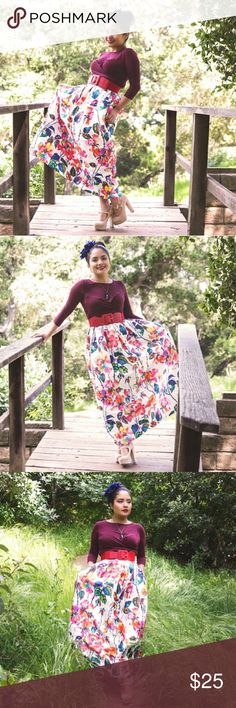Floral print skirt Long, flowy, chic, high waist skirt with pockets Skirts A-Line or Full