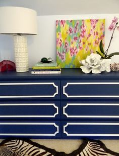 Use O'verlays fretting to revive a dresser! Navy IKEA Malm 6-drawer dresser with white overlays.