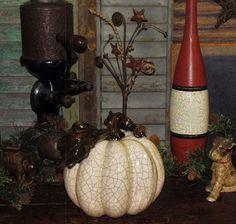 Primitive French Country Shabby Crackled Glaze Ceramic Chic Pumpkin w/ Leaf