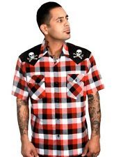 Steady Clothing Chaos Checked Rockabilly Western Mens Shirt Button Psychobilly