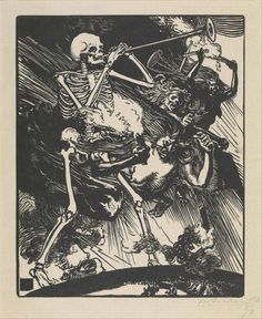 DEATH AND PASSIONS DESCENDED UPON THE WORLDAuguste Louis LepèreWoodcut, 1914.