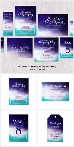 Watercolor Midnight Sky Wedding Invitation Collection in Purple and Turquoise