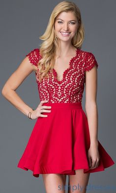 Short Red Lace Cap-Sleeve Party Dress Homecoming Dress with Deep V-neck