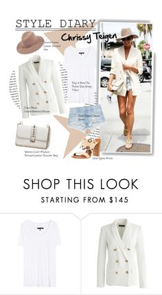 """""""Style diary:Chrissy Teigen"""" by hamaly ❤ liked on Polyvore featuring rag & bone, J.Crew and Zara"""