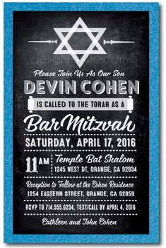 Vintage Chalkboard Bar Mitzvah Invitations [DI-606] : Custom Invitations and Announcements for all Occasions, by Delight Invite
