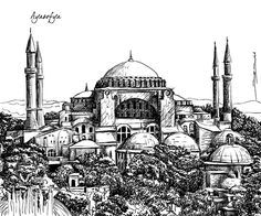 28 different Istanbul - Different parts of Istanbul drawn for a construction company in Istanbul. All drawings are vector based. Architecture Antique, Byzantine Architecture, Turkish Tiles, Turkish Art, Pencil Colour Painting, Greek Paintings, Building Drawing, Hagia Sophia, Tinta China