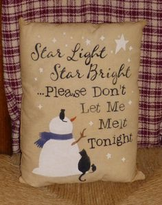 Star Light Star Bright Snowman Cat Mouse Country Primitive Christmas Winter Pillow Cupboard Tuck Sitter on Etsy, $9.95