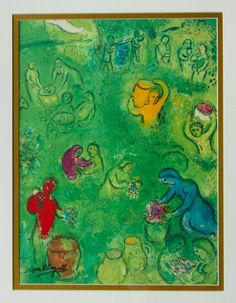Chagall - Daphnis and Chloe, The Wine Harvest - Signed - Framed Lithograph